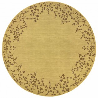 Wheat Tiny Branches Round Rug