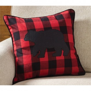 Buffalo Check Bear Pillow
