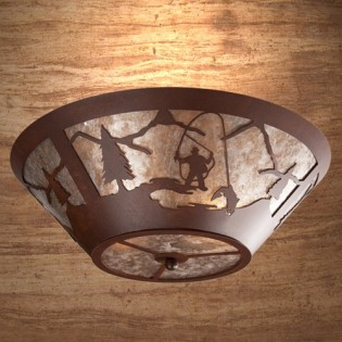 Fly Fisherman Round Ceiling Light