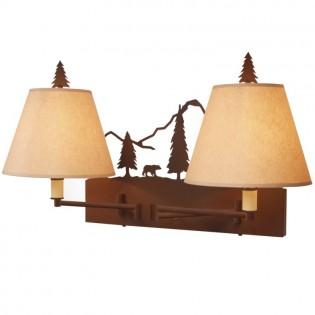 Timber Ridge Bear Double Swing Arm Wall Lamp
