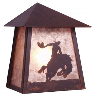 8 Seconds Tri Roof Cowboy Outdoor Sconce