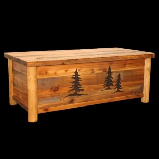 Barn Wood and Log Blanket Chest from The Cabin Shop!