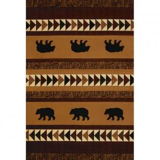Woodcut Bear Rug 8x10