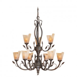 Capri Leaf 9 Light Chandelier