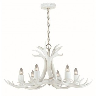 Vail 6 Light White Antler Chandelier