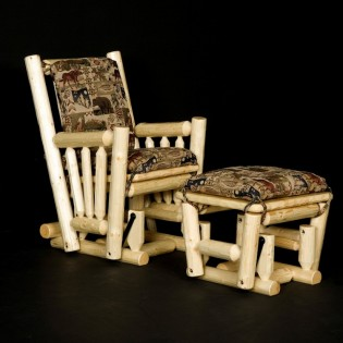 Log Glider Rocking Chair and Ottoman