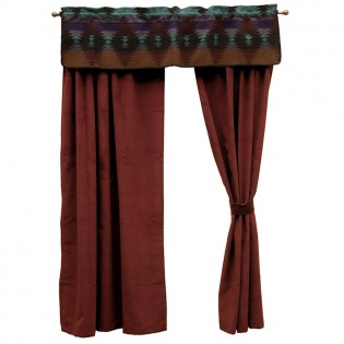Red Wine Drapes and Painted Desert Valance