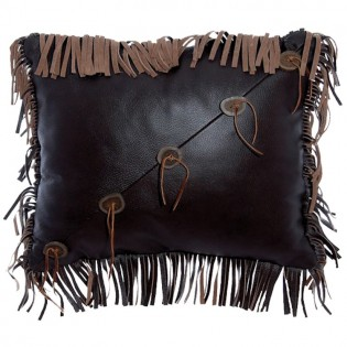 Fringed Leather and Antler Button Pillow