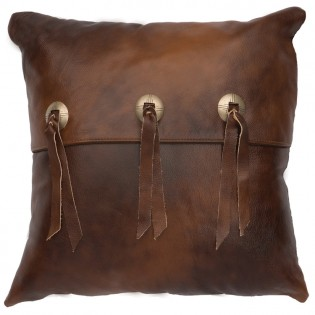 Triple Concho Leather Pillow