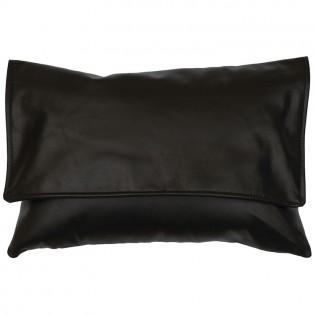 Black Leather Envelope Pillow