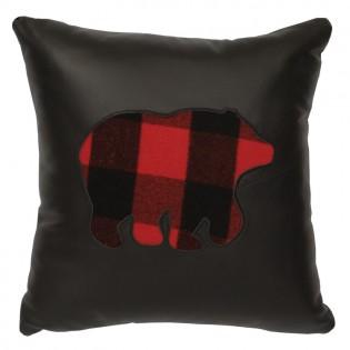 Buffalo Plaid Bear Leather Pillow