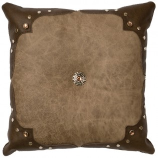 Mushroom with Caribou Corners Leather Pillow