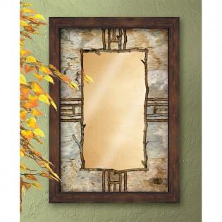 Hardwood Forest Framed Mirror