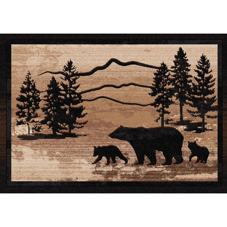 inch foot p rug cm grizzly bear