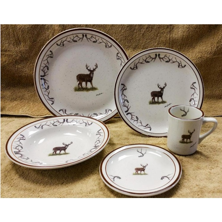 sc 1 st  The Cabin Shop & Whitetail Deer with Antler Rim Dinnerware