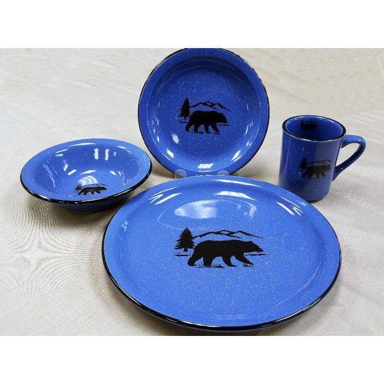 Black Bear Silhouette Dinnerware  sc 1 st  The Cabin Shop & Black Bear Silhouette 16 Pcs Dinnerware