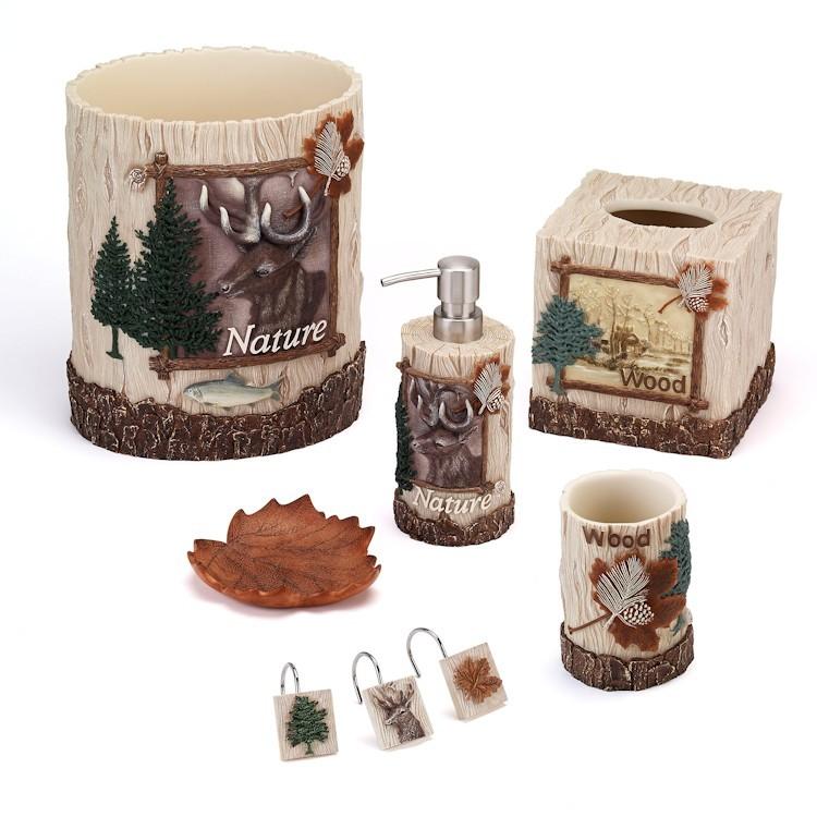 Nature walk bathroom accessories for Bathroom decor nature