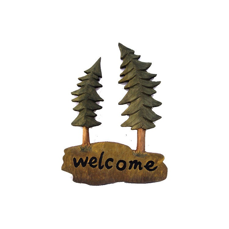 Welcome Pine Tree Wall Art 14 x 14