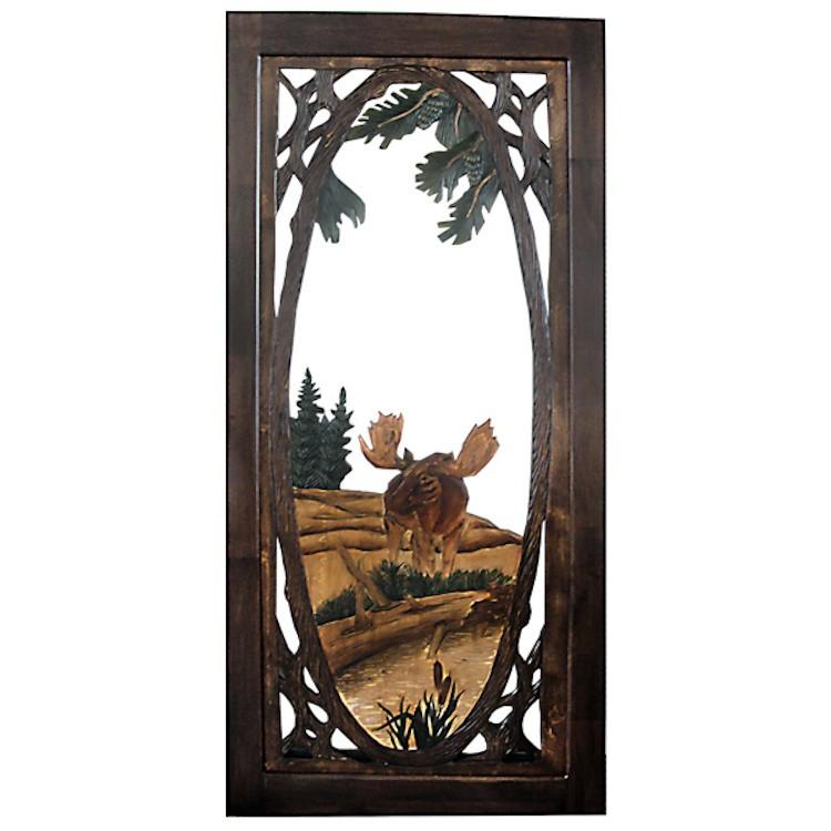 Moose Carved Screen Door