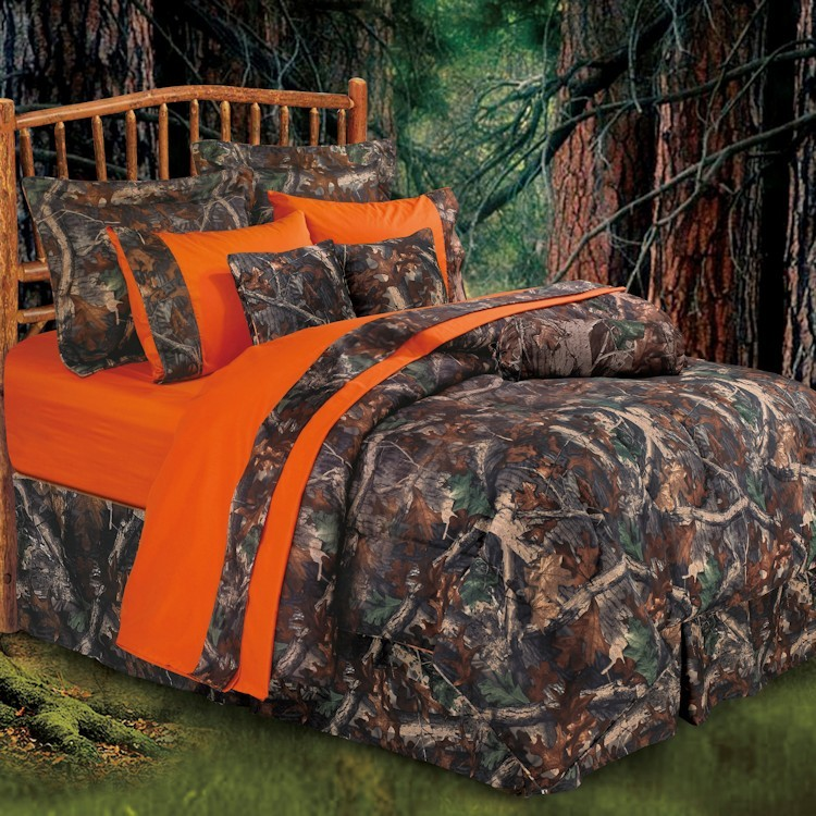 Oak Camo Comforter Sets, Orange Camo Queen Bedding