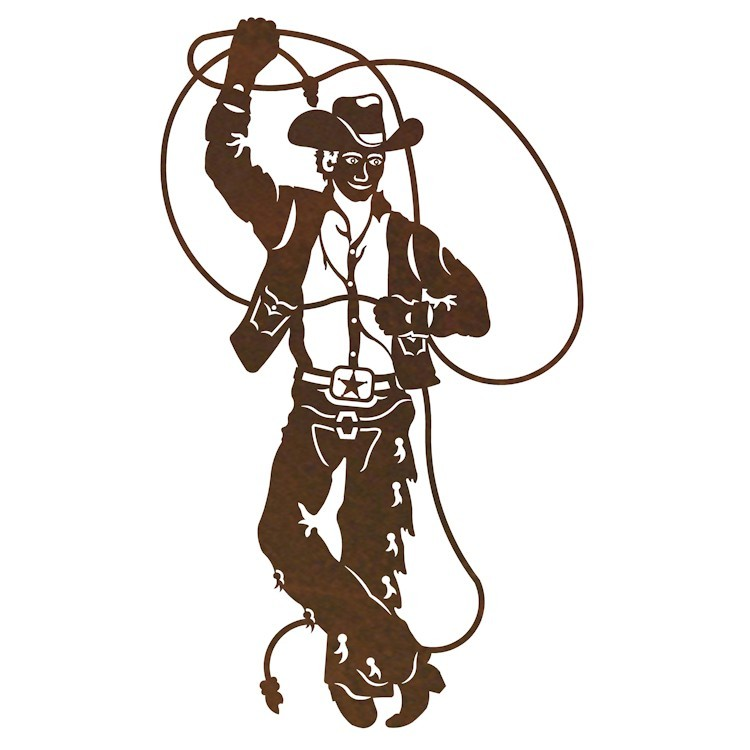 sc 1 st  The Cabin Shop & Roping Cowboy Metal Wall Art