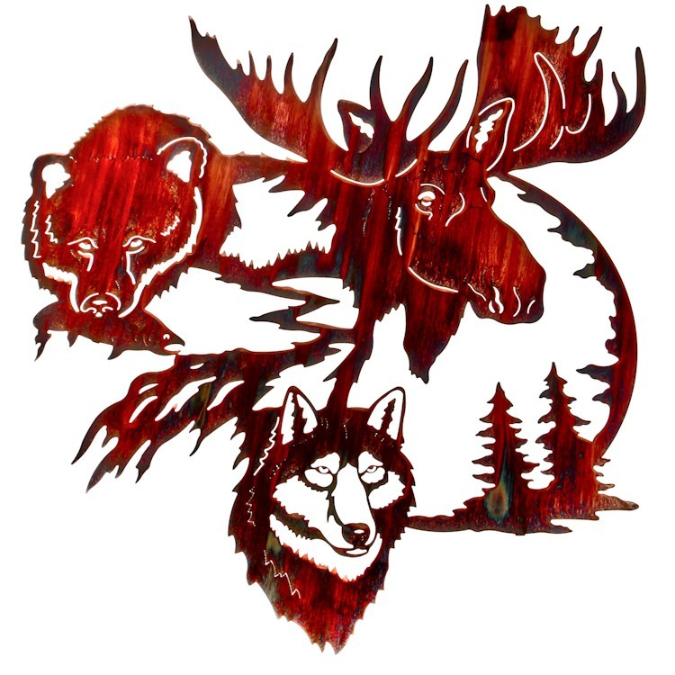 Land of the Midnight Sun Wildlife Metal Wall Art