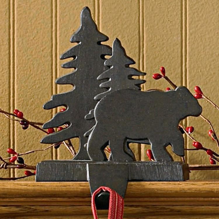 Christmas Tree Stocking Holder.Bear And Tree Stocking Holder