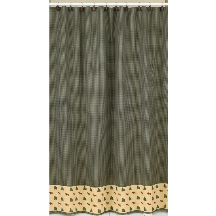 Moose And Pine Shower Curtain