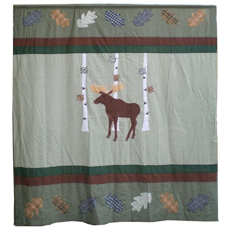 Moose In Birch Shower Curtain