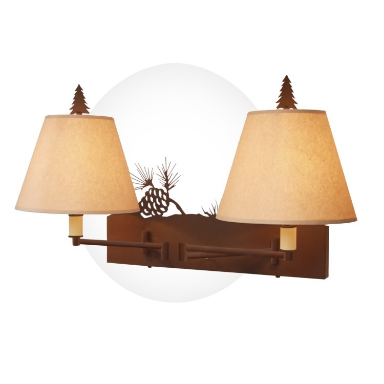Pine Cone Double Swing Arm Wall Lamp