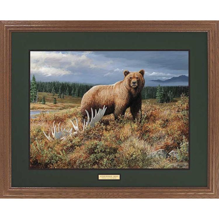 Autumn Splendor Grizzly Bear Framed Art Print