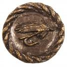 Antique Brass Round Trout Fly Knob