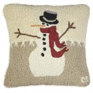 Snowman in Stitches Wool Pillow