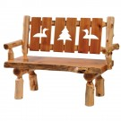 3 Panel Log Bench with Wildlife Cutouts