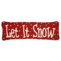 "Let it Snow Lumbar Hooked Wool Pillow 8"" x 24"""