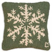 "Snowflake 14"" Pine-Green Wool Pillow"
