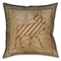 Country Cabin Moose Plaid Pillow