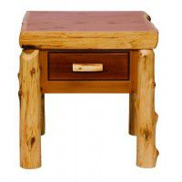 One Drawer Log End Table