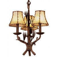 Ponderosa 3 Light Pine Cone Chandelier