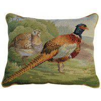 Pheasants in Field Pillow