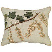 White Currants Needlepoint Pillow