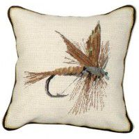 March Brown Fishing Fly Pillow
