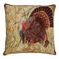 Turkey in Field Needlepoint Pillow