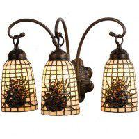Pinecone Art Glass Triple Vanity Light
