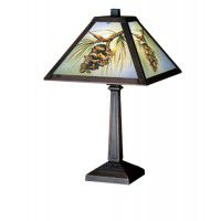 Pinecone Reverse Painted Accent Lamp