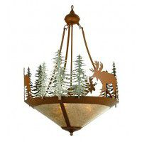 Moose and Trees Inverted Chandelier