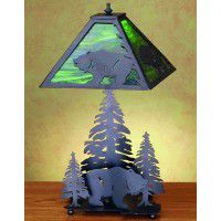 Grizzly Bear And Forest Table Lamp