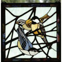 Chickadee Stained Glass Window