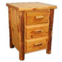 Three Drawer Log Night Stand