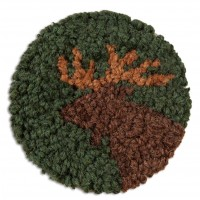Moose Hand-Hooked Wool Coaster Set of 4